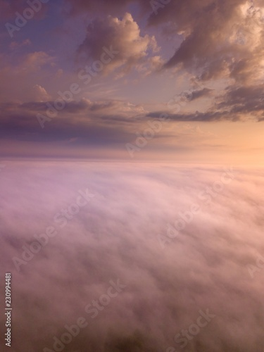 Poster Lichtroze Beautiful foggy sunrise landscape from drone.