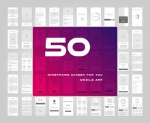 50 In 1 UI Kits. Wireframes Sc...