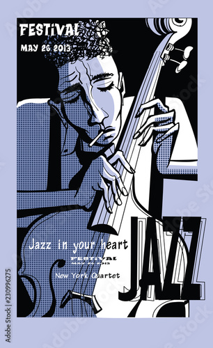 Deurstickers Art Studio Jazz poster with double bass