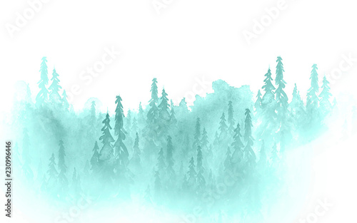 Foto op Canvas Lichtblauw Watercolor art illustration. Drawing of the blue forest, pine tree, spruce, cedar. Dark, dense forest, suburban landscape. Postcard, logo, card. Misty forest, haze.