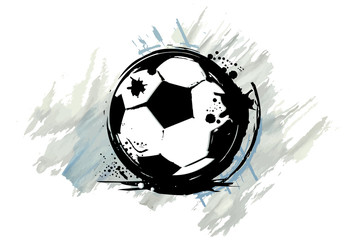 Football ball with a watercolor effect. Vector illustration.