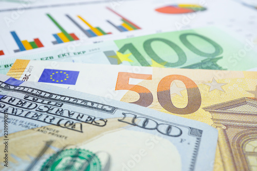 Us Dollar And Euro Banknotes Money On Chart Graph Spreadsheet Paper Financial Development Banking Account Statistics Investment Ytic Research Data