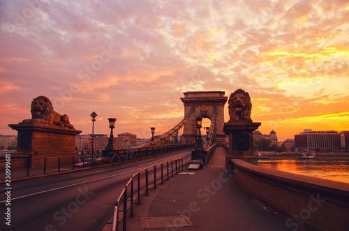 Canvas Prints Bridge Silhouette of Chain Bridge on the background of sunrise in Budapest. Hungary travel destination and tourism landmark.