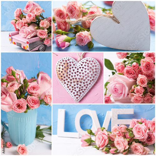 Collage From Romantic Photos With Pink Roses Flowers And Hearts On