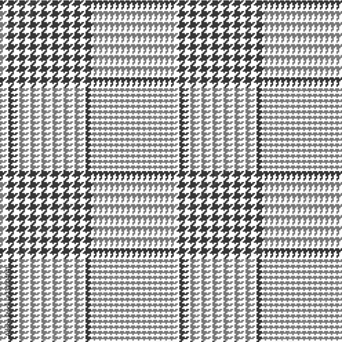 Glen Plaid Seamless Vector Pattern in Gray and Black with 8x8 Check Houndstooth Blocks Canvas Print