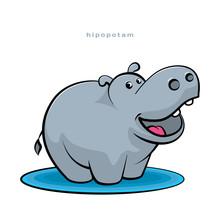 Little Hippopotamus Fun Dancing And Smiling. Cartoon Character. Funny Hippo