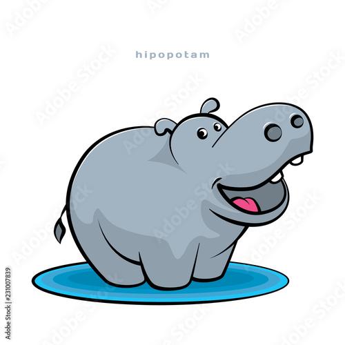 Fotografia, Obraz Little hippopotamus fun dancing and smiling