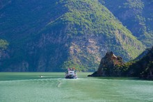 Car Ferry To Koman Reservoir, Liqeni I Komanit, River Drin, Qark Shkodra, Albania, Europe