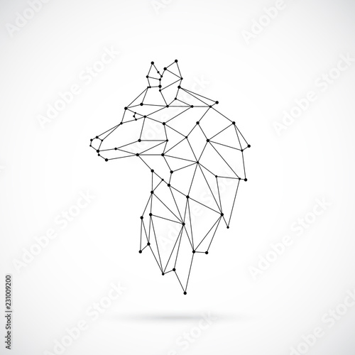 Fotomural Geometric Wolf silhouette