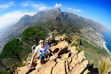 Ascent To Lion's Head Overlooking Camps Bay, Table Mountain And Twelve Apostles, Cape Town, Western Cape, South Africa, Africa