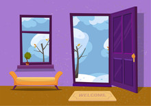 Open Door Into Winter Landscape Cloudy View With Snowy Trees. Door Mat And Yellow Bench In Room. Flat Cartoon Textured Purple Vector Illustration. Trees With Round Crown Under Clouds Sky
