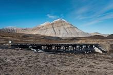 Historic Wooden Bridge For Former Coal Mining, Ny-Alesund, Spitsbergen Island, Spitsbergen Archipelago, Svalbard And Jan Mayen, Norway, Europe