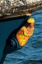 Female Figurehead At The Bow, Three-master Barkentine, Antigua, Antigua And Barbuda, Central America