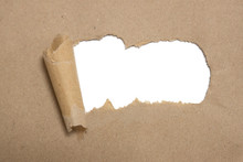Torn Brown Package Rolled Up Curvl Paper With Blank White Copyspace