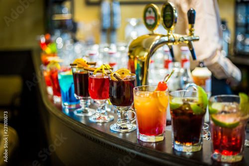 A Set of the Different Kind of Alcoholic Cocktails in the Bar at the Evening Party