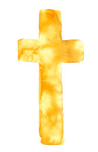 Simple Bright Golden Yellow Christian Cross Painted In Watercolor On Clean White Background