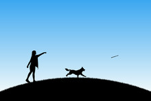 Girl Trains Dog In Park. Vector Illustration With Silhouettes Of Woman And Running Pet. Blue Pastel Background