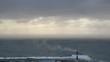 High waves in ocean. Giant Blue Ocean Waves in Sakhalin Aerial view.