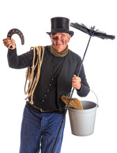 Isolated Chimney Sweep With Horsehoe
