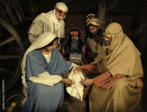 Christmas scene with wisemen Fototapet