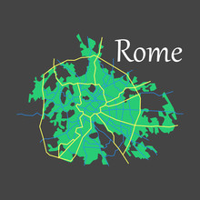 Flat City Map Of Rome With Wel...