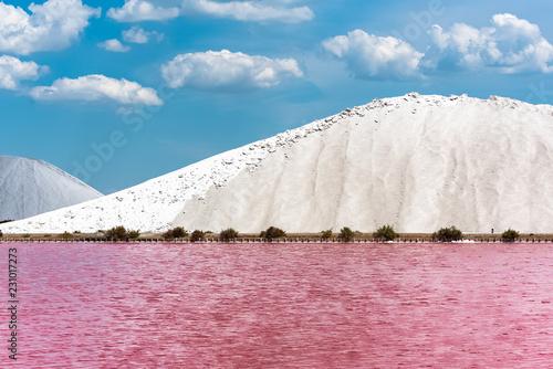Foto auf Gartenposter Blau Aigues-Mortes, Salins du Midi, panorama with salt marshes