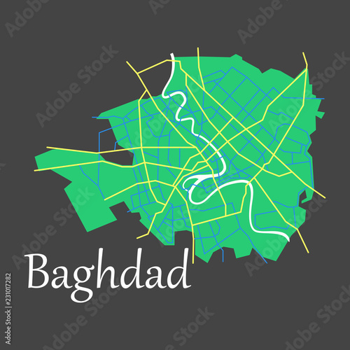 Valokuva  Baghdad city map - Iraq. Flat. Isolated on background
