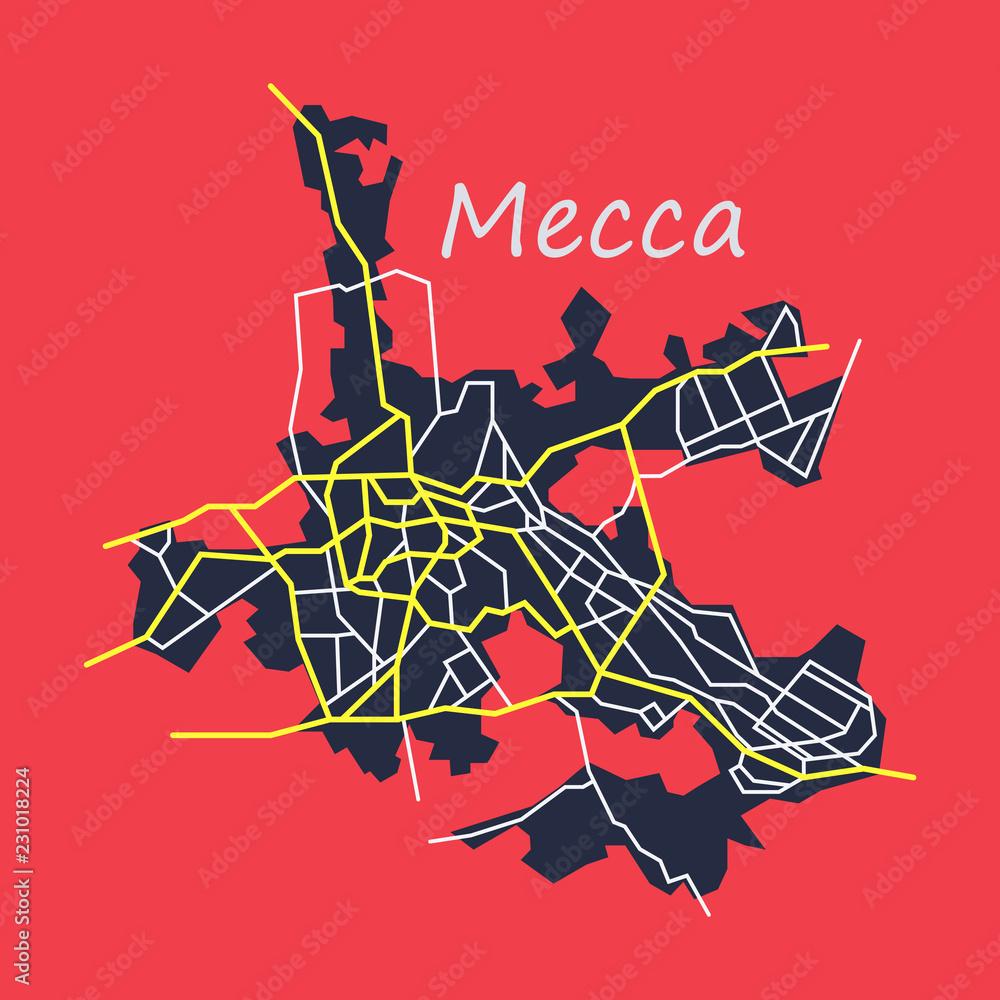 Mecca map Saudi Arabia, Flat illustration. Foto, Poster, Wandbilder ...