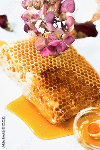 Fotografering  Nice honeycomb with pink flower.