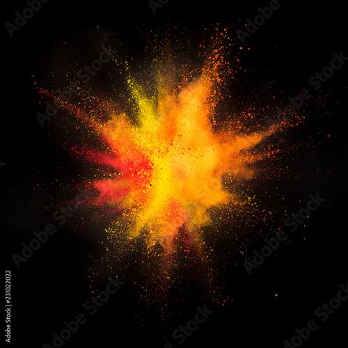 Fototapeta Colored powder explosion on black background obraz na płótnie