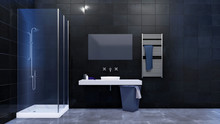 Modern Minimalist Bathroom Interior In Black And White Colors With Glass Walk-in Shower, Mirror And Simple Ceramic Sink On A Dark Tiled Wall Background. 3D Illustration.