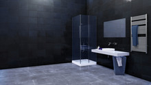 Modern Minimalist Bathroom Interior Design With Glass Walk-in Shower And Simple Ceramic Sink Against Empty Black Marble Tiled Wall With Copy Space. 3D Illustration.
