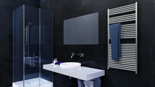 Close Up Of Glass Walk-in Shower, Simple Mirror And White Ceramic Sink In Modern Minimalist Bathroom Interior With Glossy Black Marble Tiled Wall. 3D Illustration.