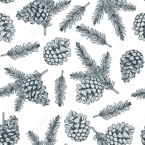 Obraz Pine cones and pine branches seamless pattern. Christmas hand drawn background. - fototapety do salonu