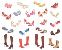 Women Shoes Collection. Various Types Of Female Shoes Boots, Stilettos, Wedgies, Sandals, Sneakers, Flats, Vector Sketch Illustration, Isolated On White Background.