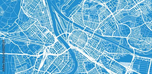 Urban vector city map of Mannheim, Germany Canvas Print