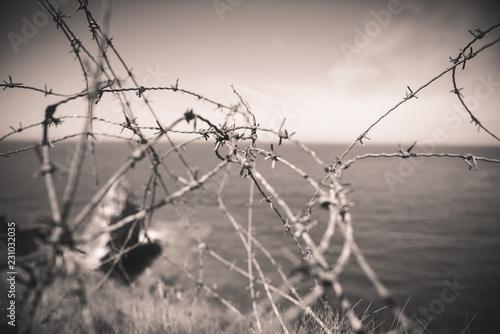 Fotografía  Barbed wire by the sea