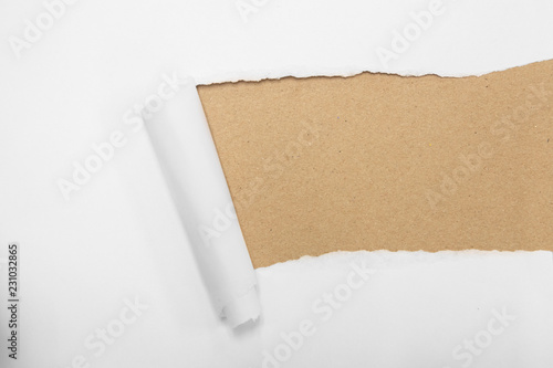Photo  torn package rolled up curvl paper with blank white copyspace
