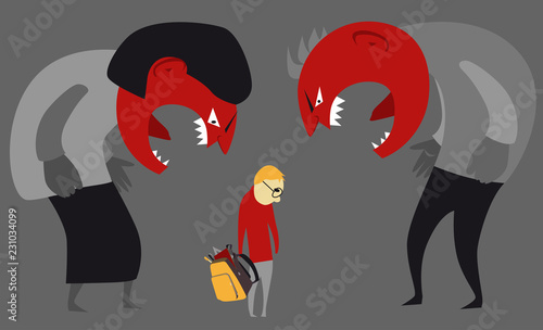 Fotografia Abusive parents yelling at a child, EPS 8 vector illustration