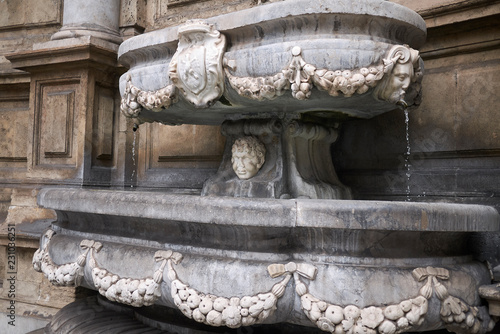 Tuinposter Palermo Palermo, Italy - September 07, 2018 : detail of Quattro Canti (south east corner)