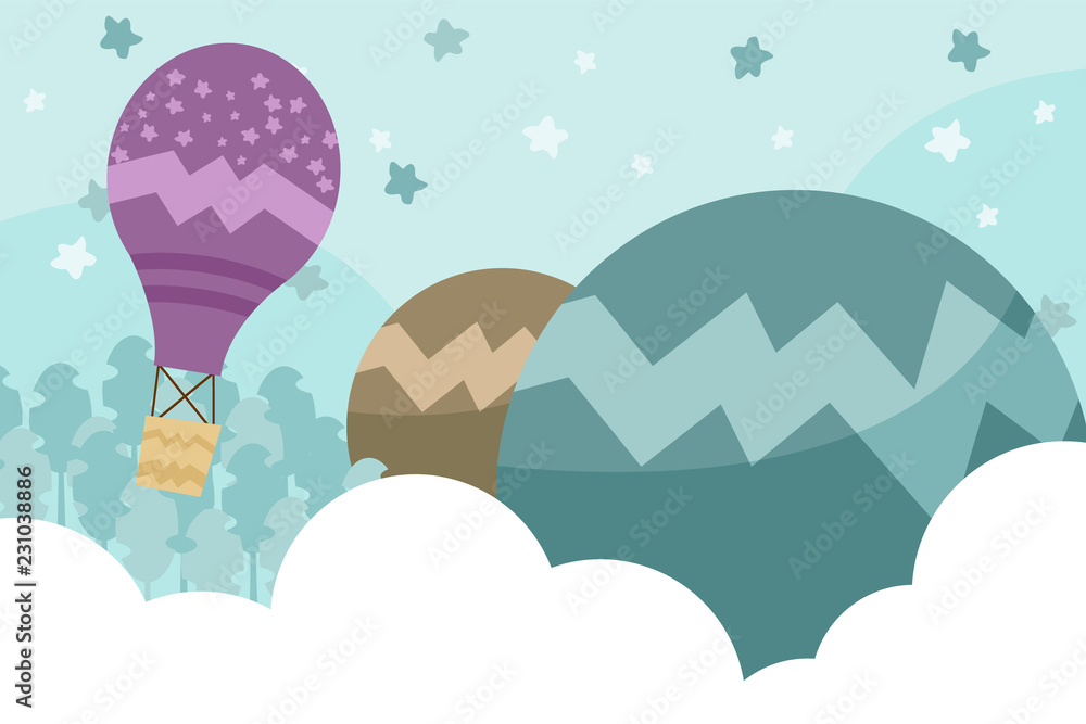 Kids room wallpaper with graphic illustration winter forest, hill, and air balloon. Can use for print on the wall, pillows, decoration kids interior, baby wear, shirts, and greeting card