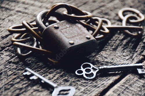 Close up of old lock, keys and chain