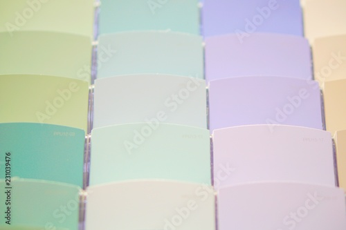 Close up of color swatches