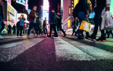 Time square at night, blurried concept photo in New york