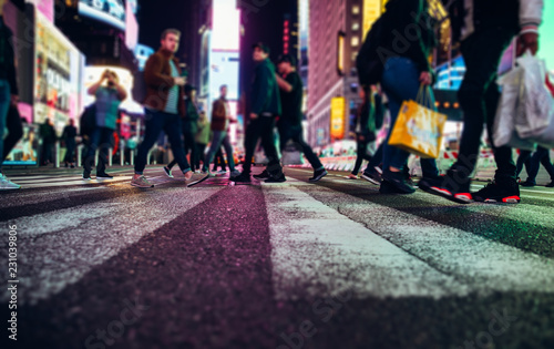 Canvas Prints New York City Time square at night, blurried concept photo in New york