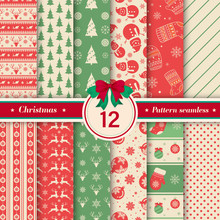 Merry Christmas Pattern Seamless Collection. Set Of 12 X-mas Winter Holiday Background. Endless Texture For Gift Wrap, Wallpaper, Web Banner Background, Wrapping Paper And Fabric Patterns.