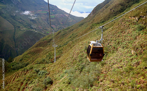 Fotobehang Zuid-Amerika land Telecabinas Kuelap or Cable Car on Its Way Back from Kuelap Fortress Archaeological Complex in Amazonas Region of Northern Peru