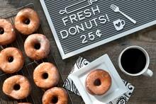 Overhead View Of Doughnut On C...