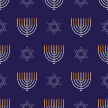 Jewish Holiday Hanukkah Seamless Pattern With Hanukkah Menorah, Dreidels, Star Of David .Vector Background For Wallpaper, Greeting Card  And Graphic Design.