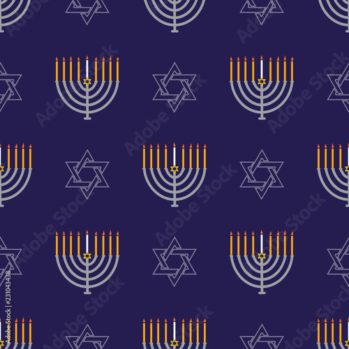 Jewish holiday Hanukkah seamless pattern with Hanukkah menorah, dreidels, star of David .Vector background for wallpaper, greeting card and graphic design.